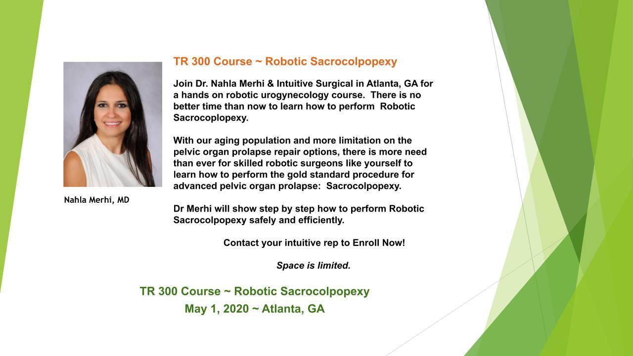 TR 300 Course | Robotic Sacrocolpopexy